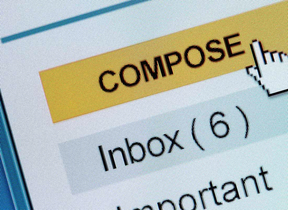 A croped view of an email menu with the compose button selected