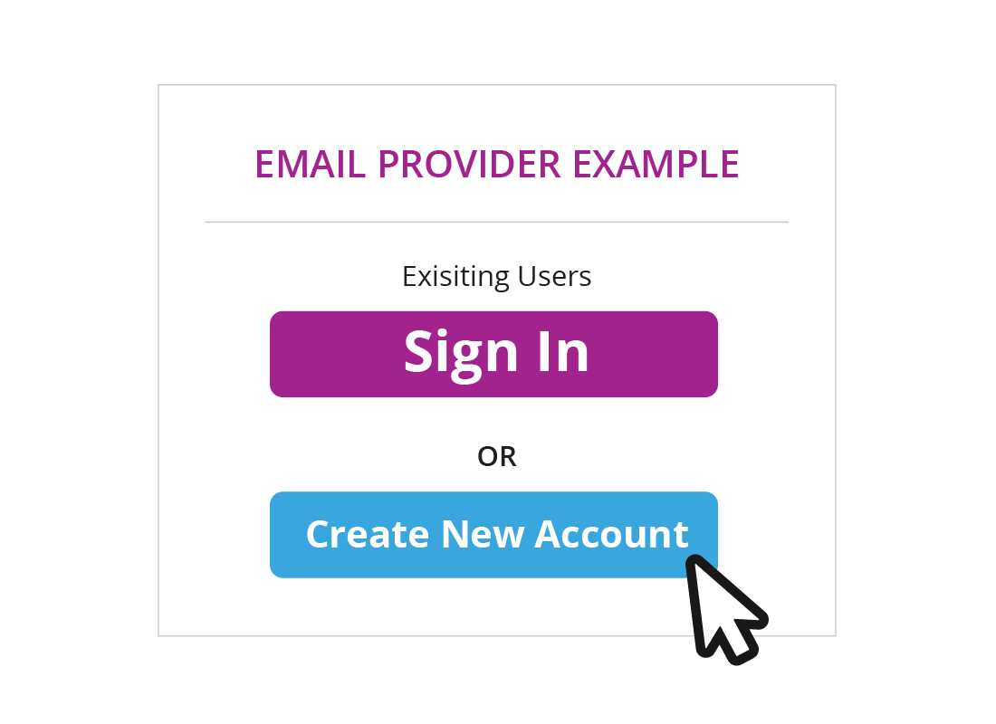 Shows a window with a button to sign into email for existing users, or to create a new account
