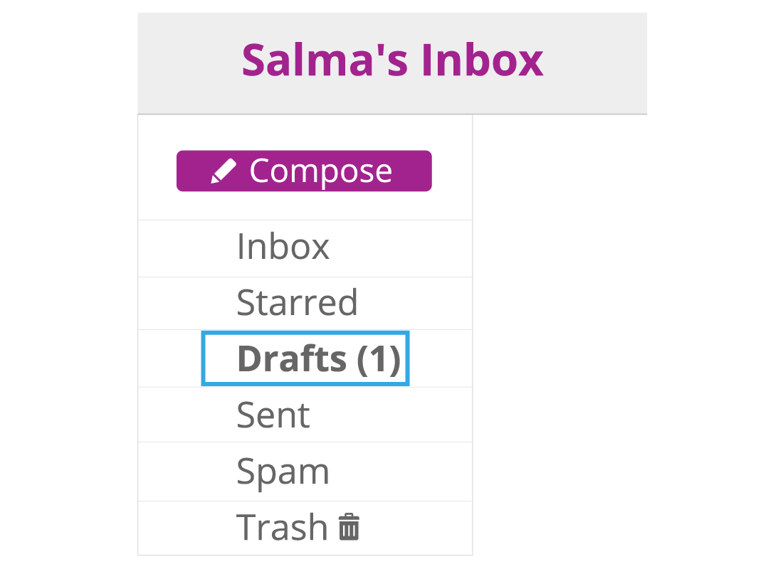 Shows the navigation options for different folders within Salma's Inbox. The drafts folder has been highlighted.