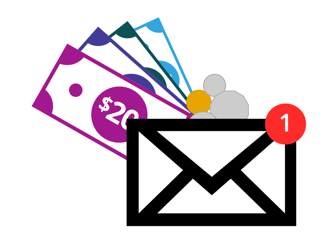 A digital illustration of different types of money with an email message icon