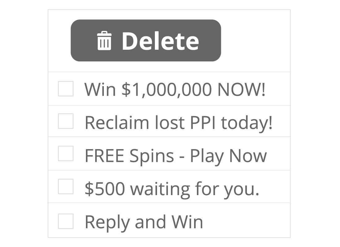 An example of a list of junk emails in a spam folder with a delete button above.