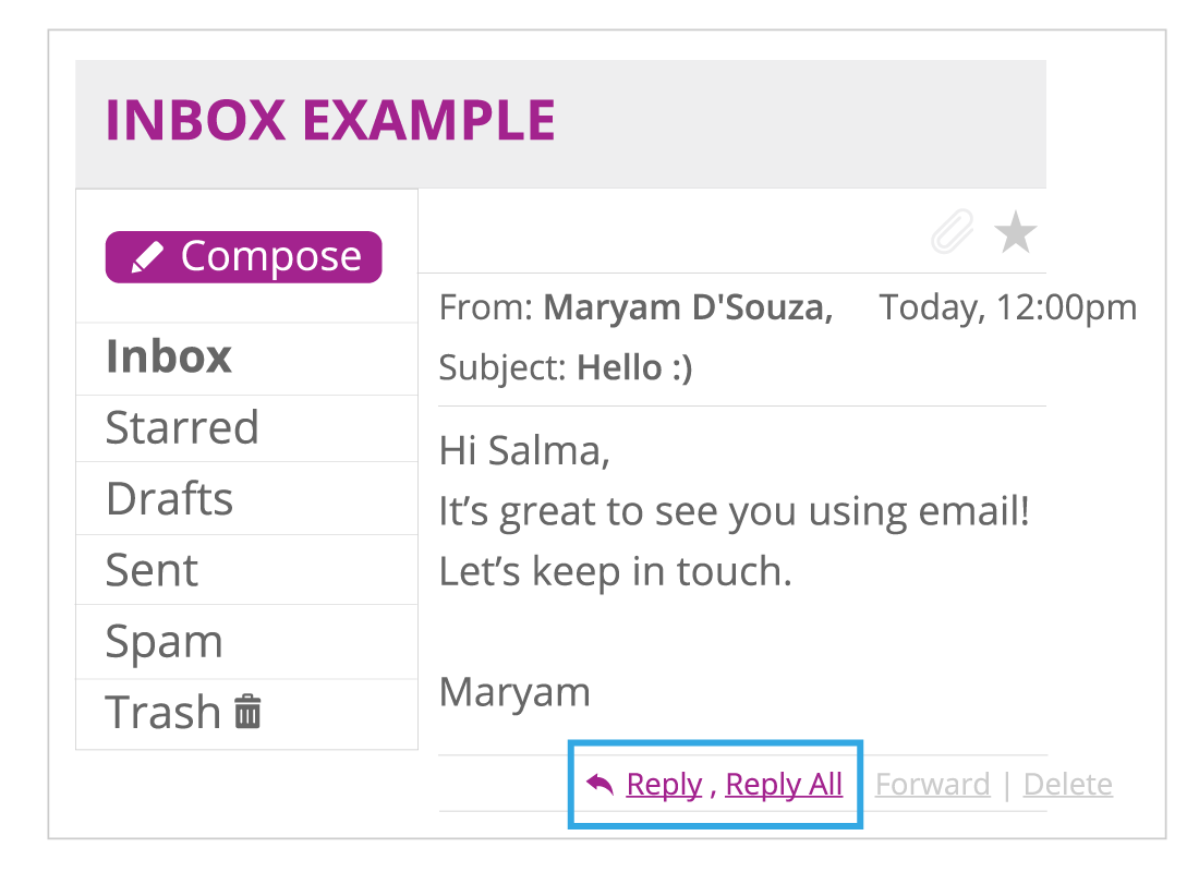 Shows an example of an email in an inbox with the 'Reply' and the 'Reply All' button highlighted
