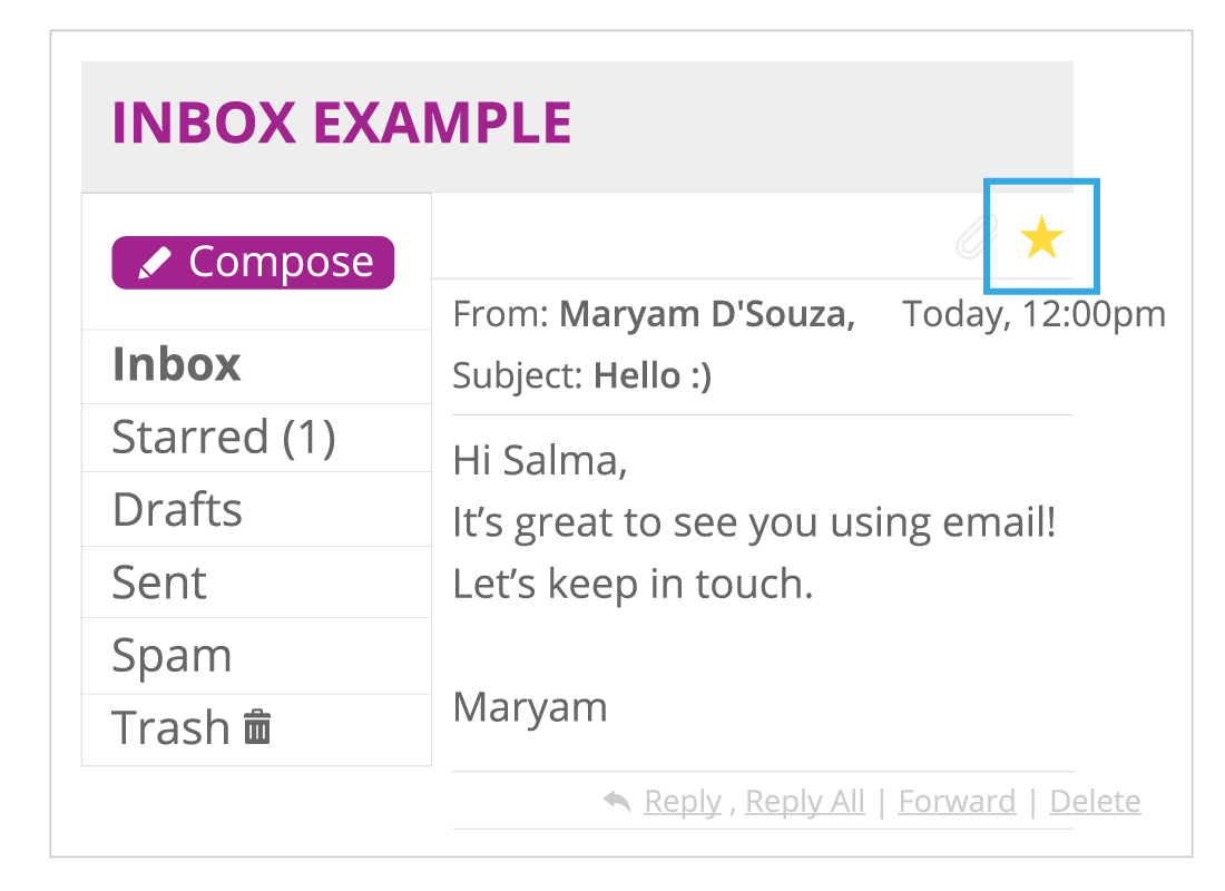 Shows an example of an email in an inbox with the star button selected