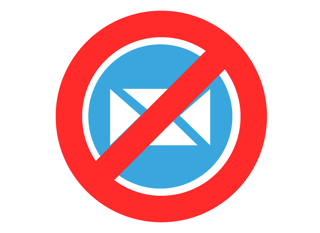An email icon with a red circle around it with a line through indication 'no email'