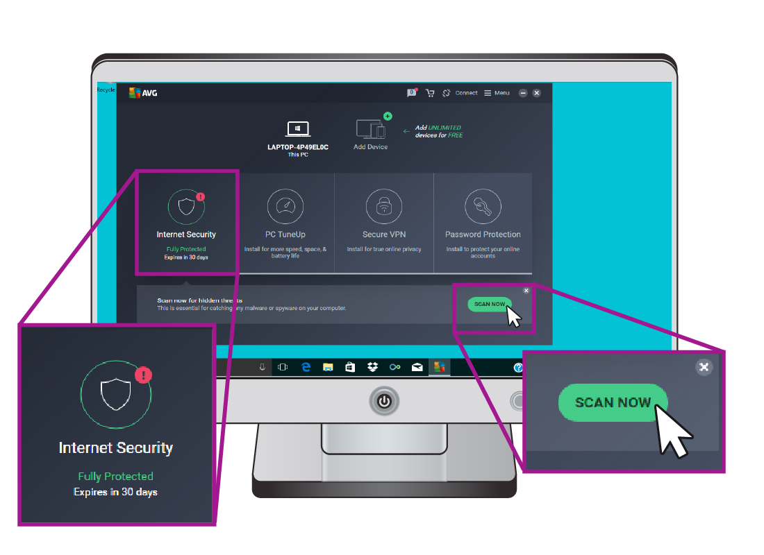 An AVG window displaying that you can 'scan now' for internet security