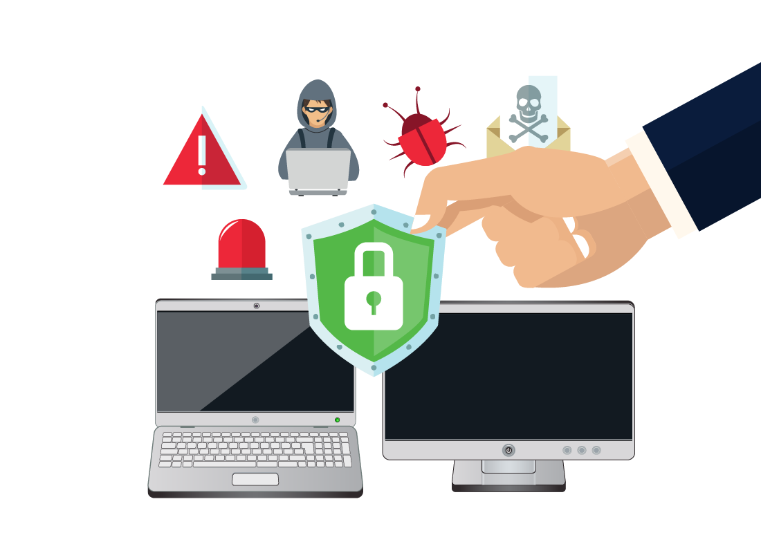 Warning, security and computer icons