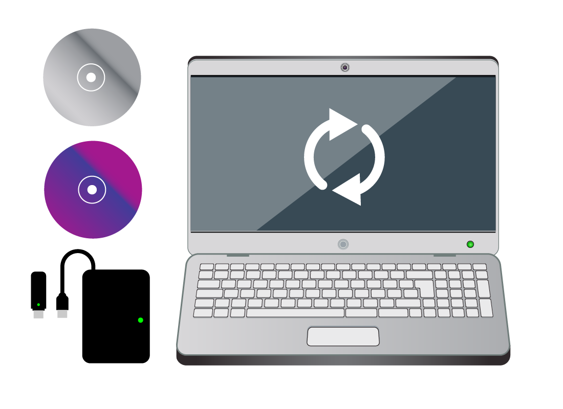 A computer with a few ways to back up files including CD, DVD, USB and hard drive