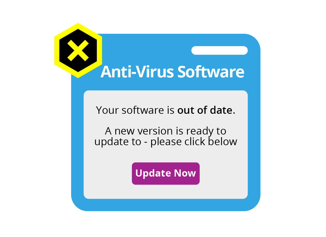 Anti-Virus Software pop up window warning that the software is out of date