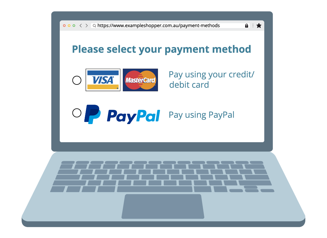 Payment methods website page