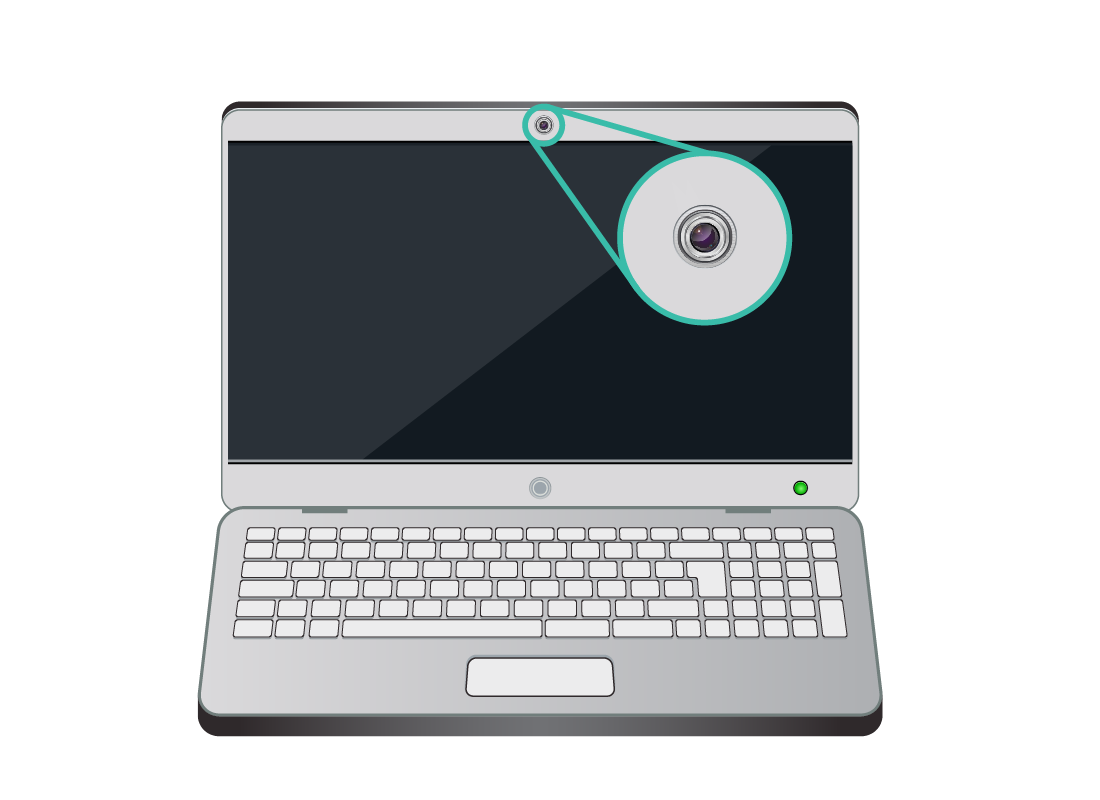 A magnified example of the camera that is centred at the top of a laptop screen