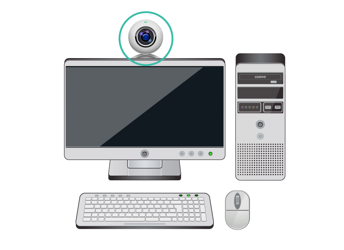 An example of an external camera that is attached and centred at the top of a computer screen