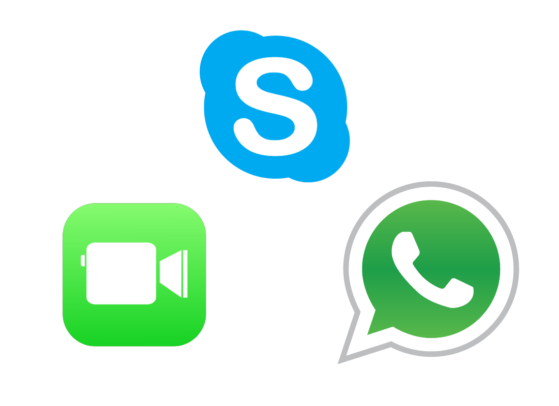 A range of icons representing video calling