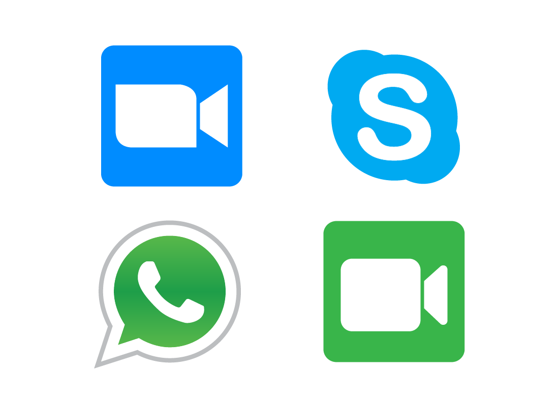A range of icons representing video calling apps, including Zoome, Skype, WhatsApp and FaceTime