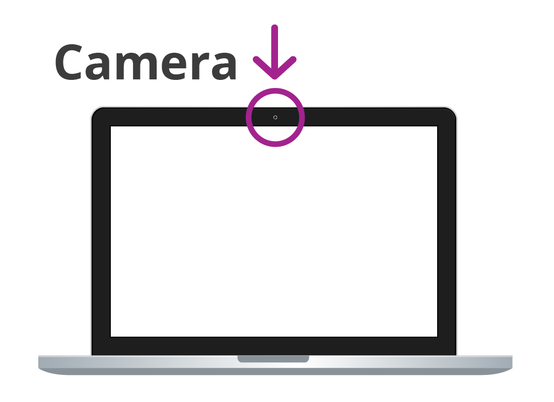 A graphic of laptop computer highlighting the location of the built in camera.