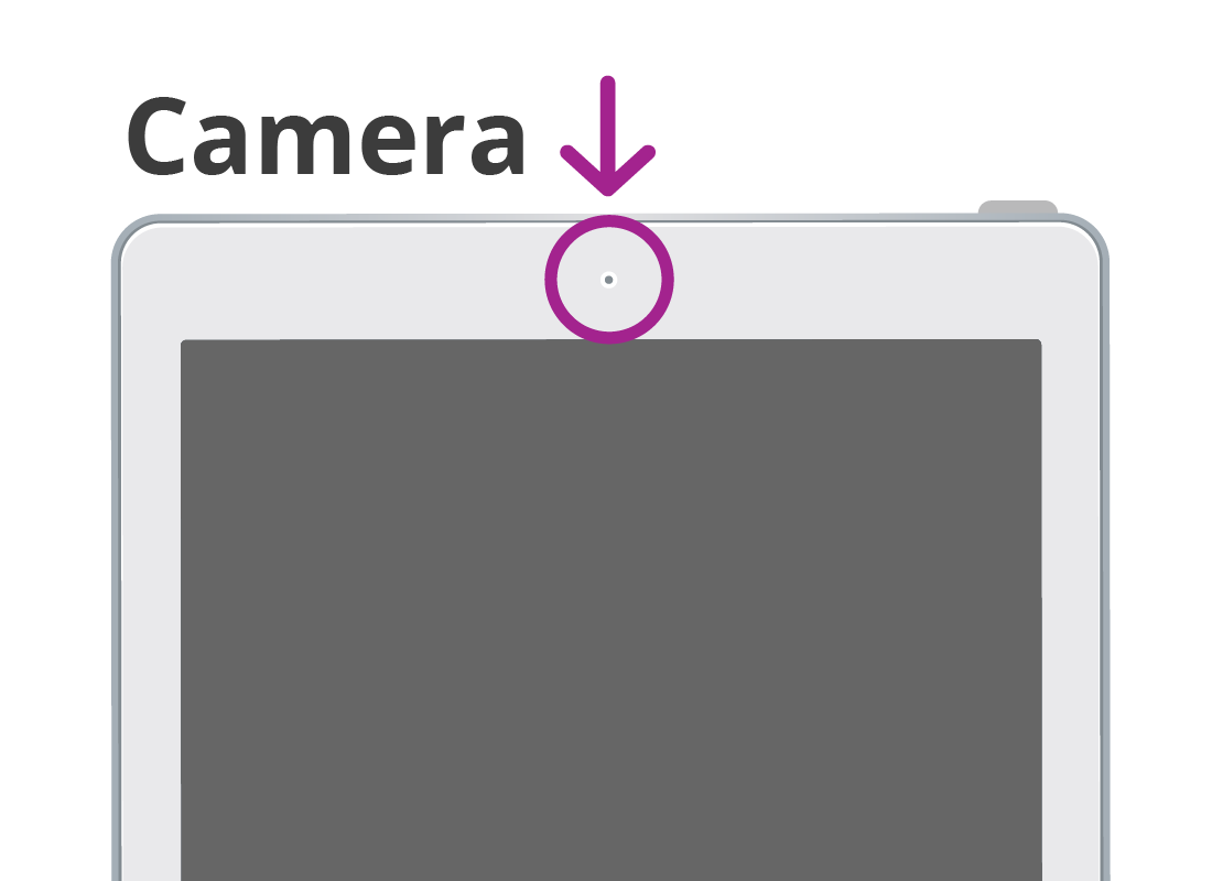 A magnified example of the camera that is centred at the top of a smart device