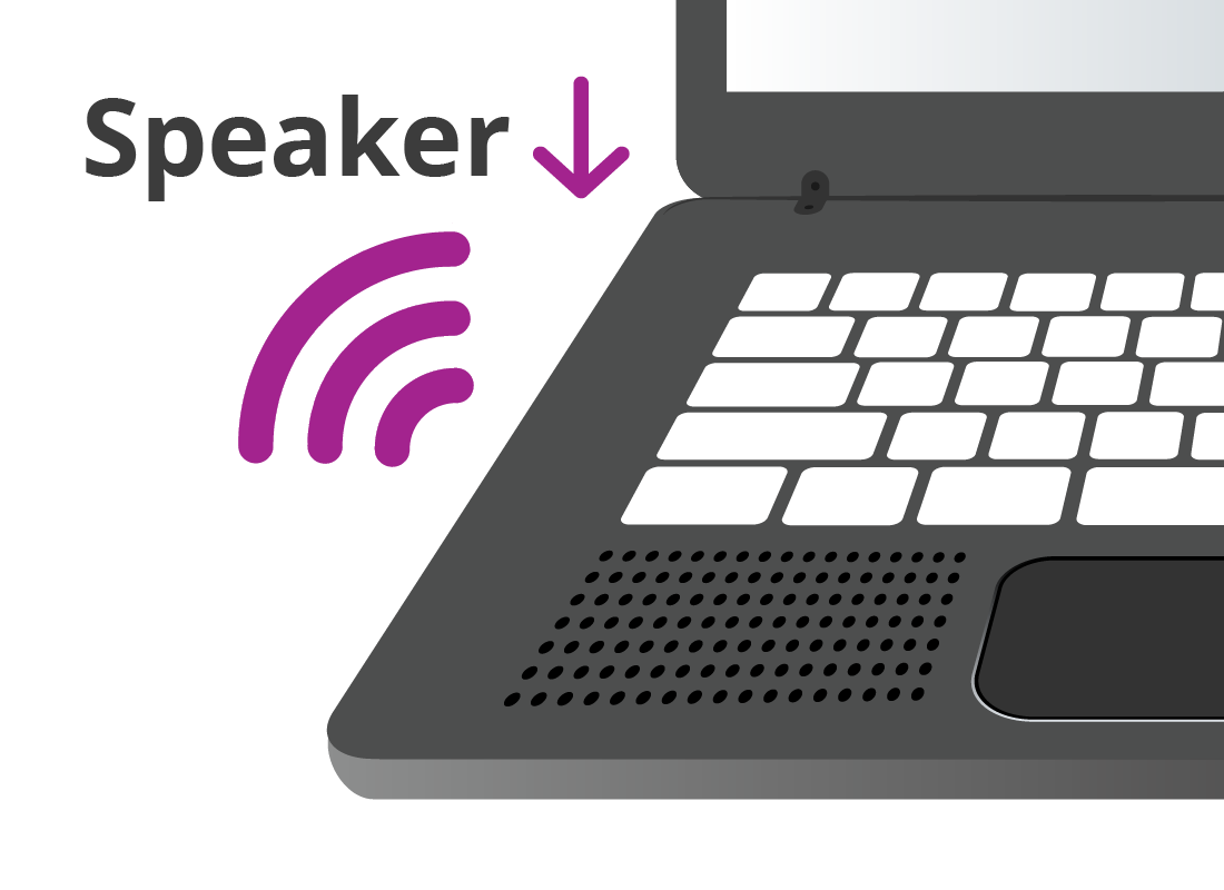 An example of where speakers may be found on a laptop
