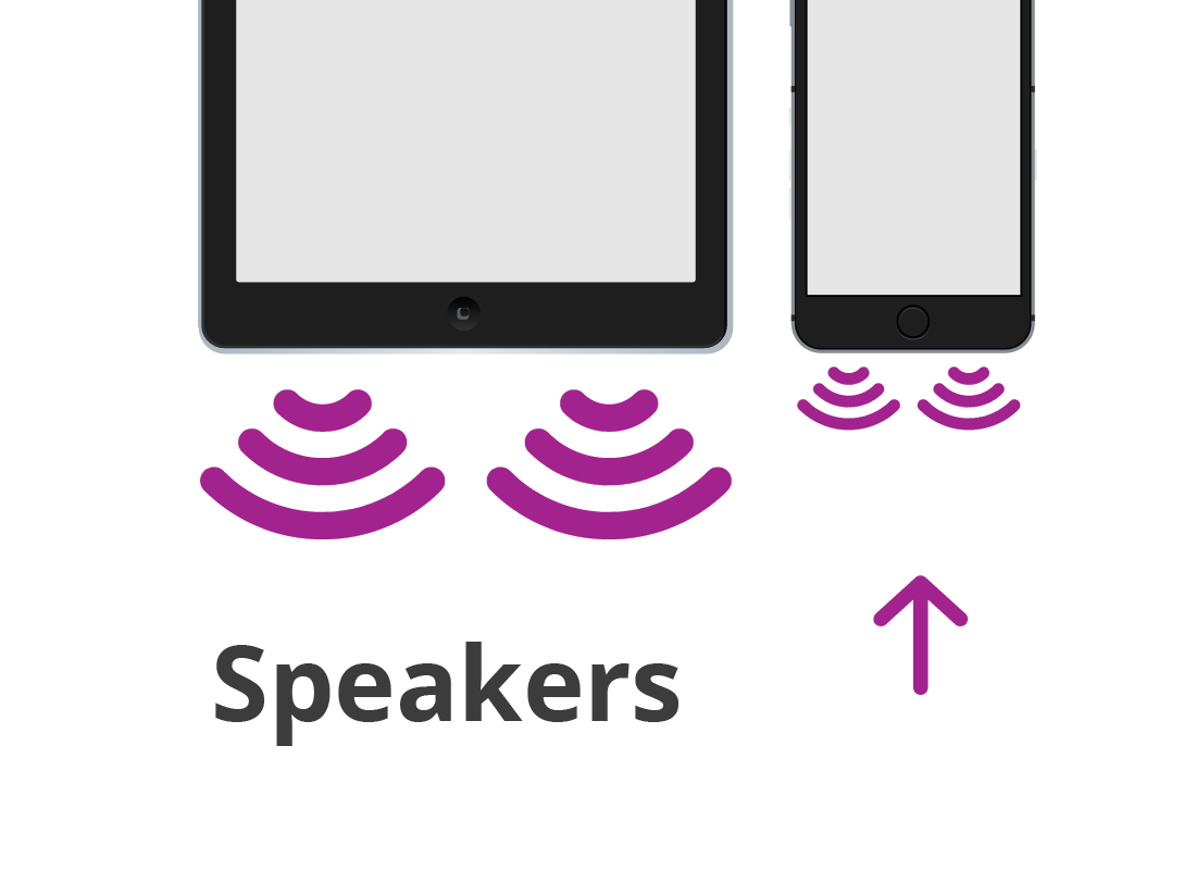 An example of where speakers may be found at the base of a smart device