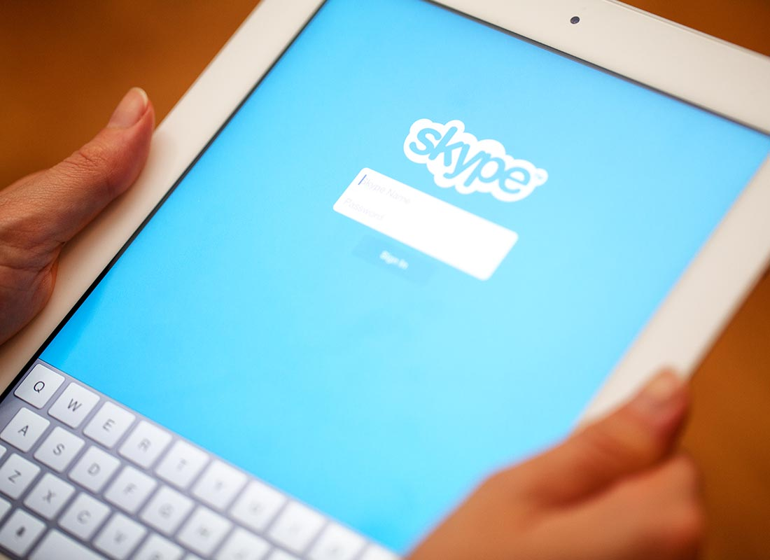 A tablet with the Skype app ready to go