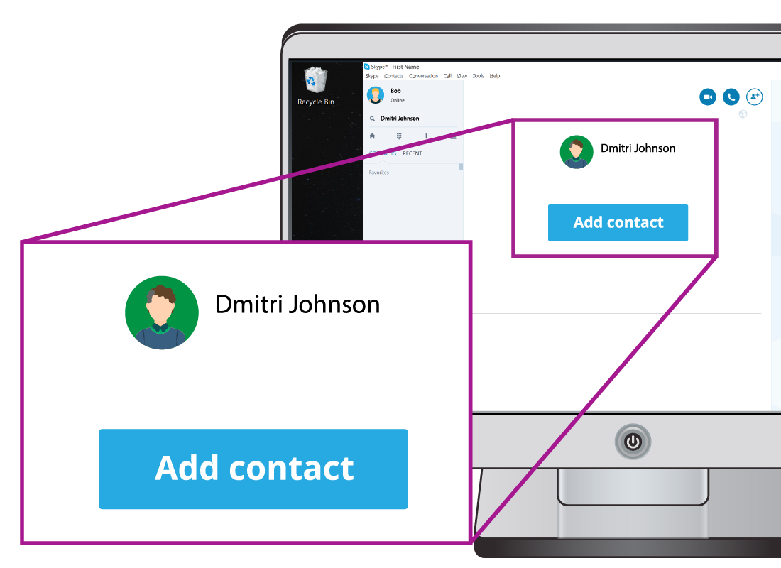 Shows a magnified example of the button to add a contact in Skype