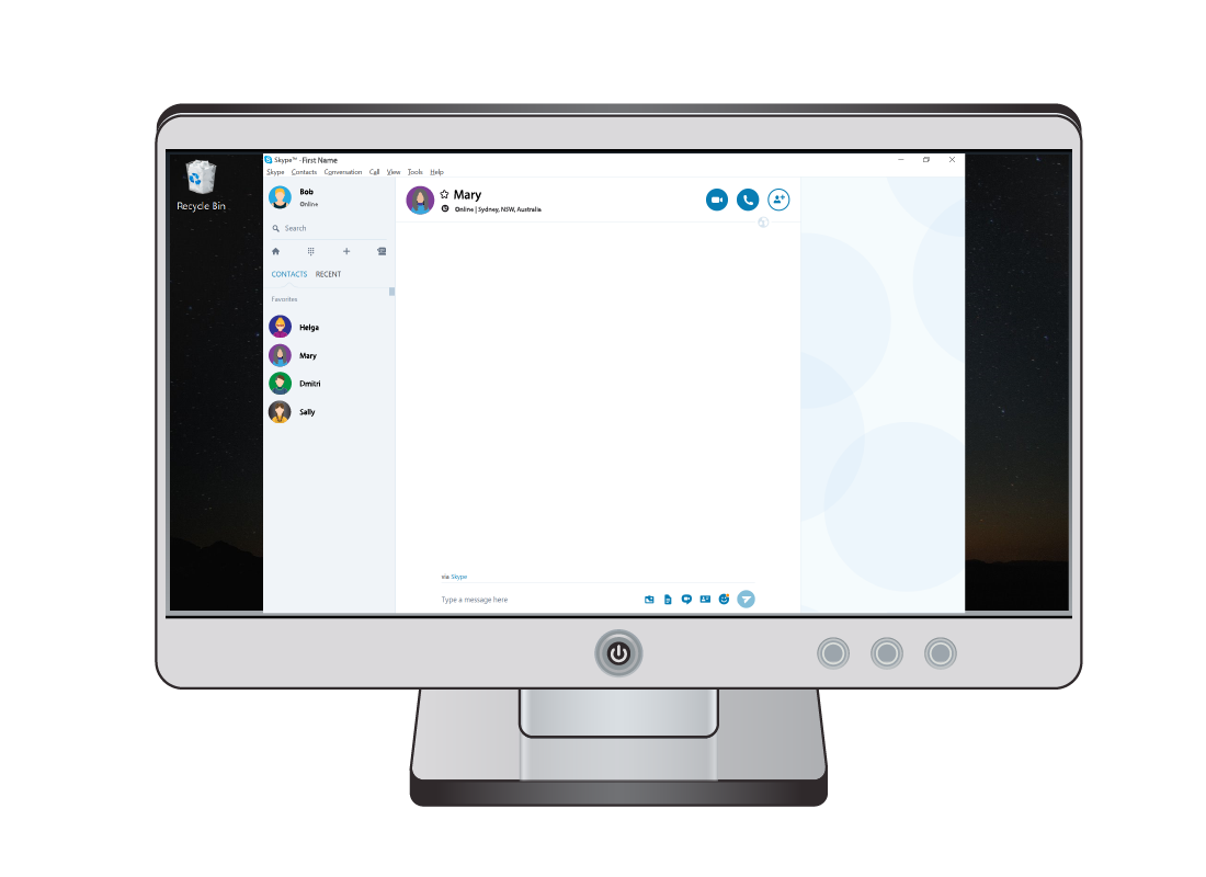 A sample Skype window with Mary selected, showing a few buttons as ways to get in contact with her