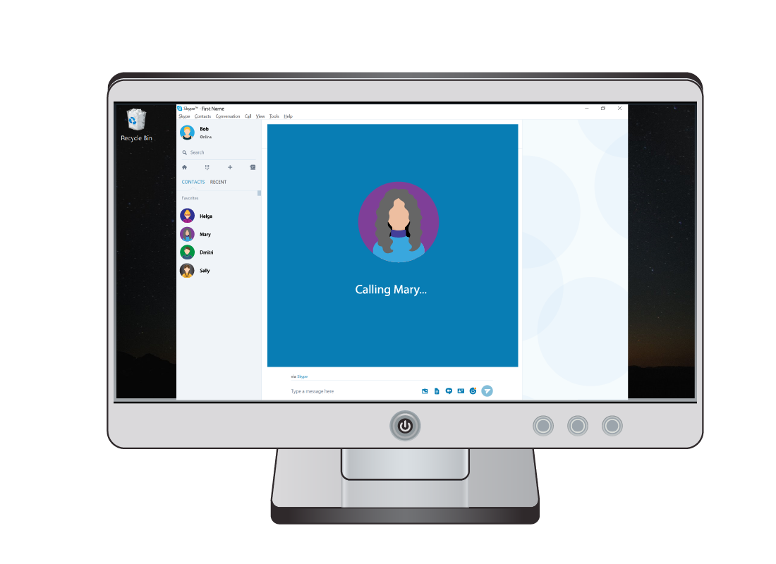 A sample Skype window showing that Mary is being called