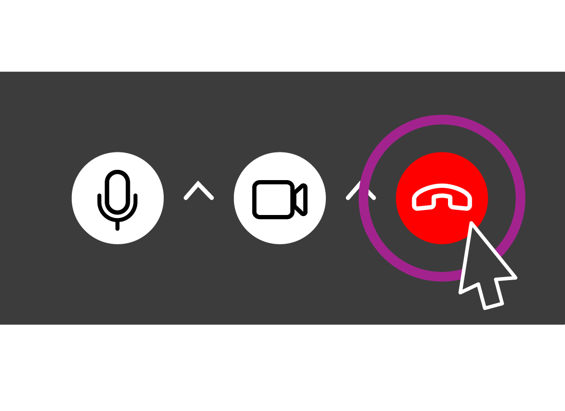 The Skype control options, highlighting the red hang up button