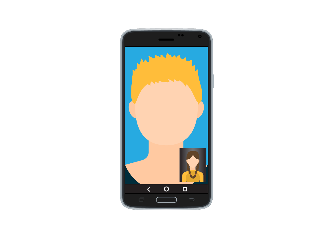 Shows a sample WhatsApp call on a smartphone where you see the person you are calling fill up most of the screen, and your face is seen in a small window at the bottom