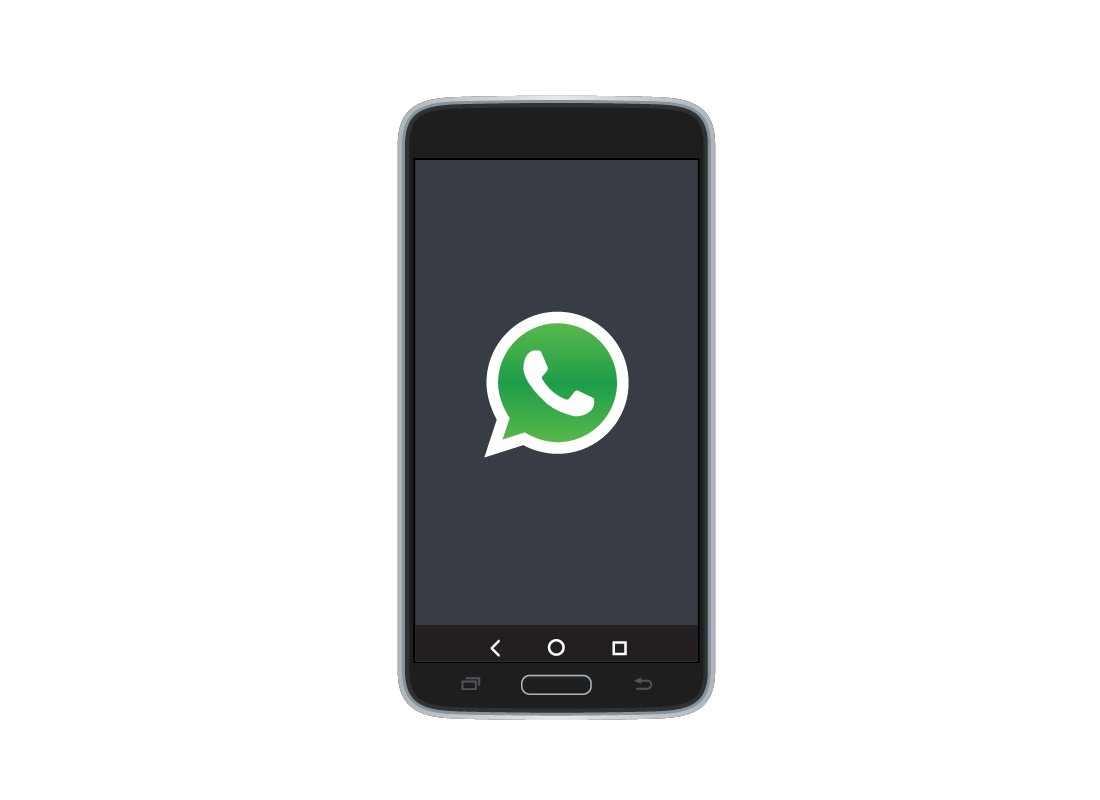 A smartphone with the WhatsApp logo on it