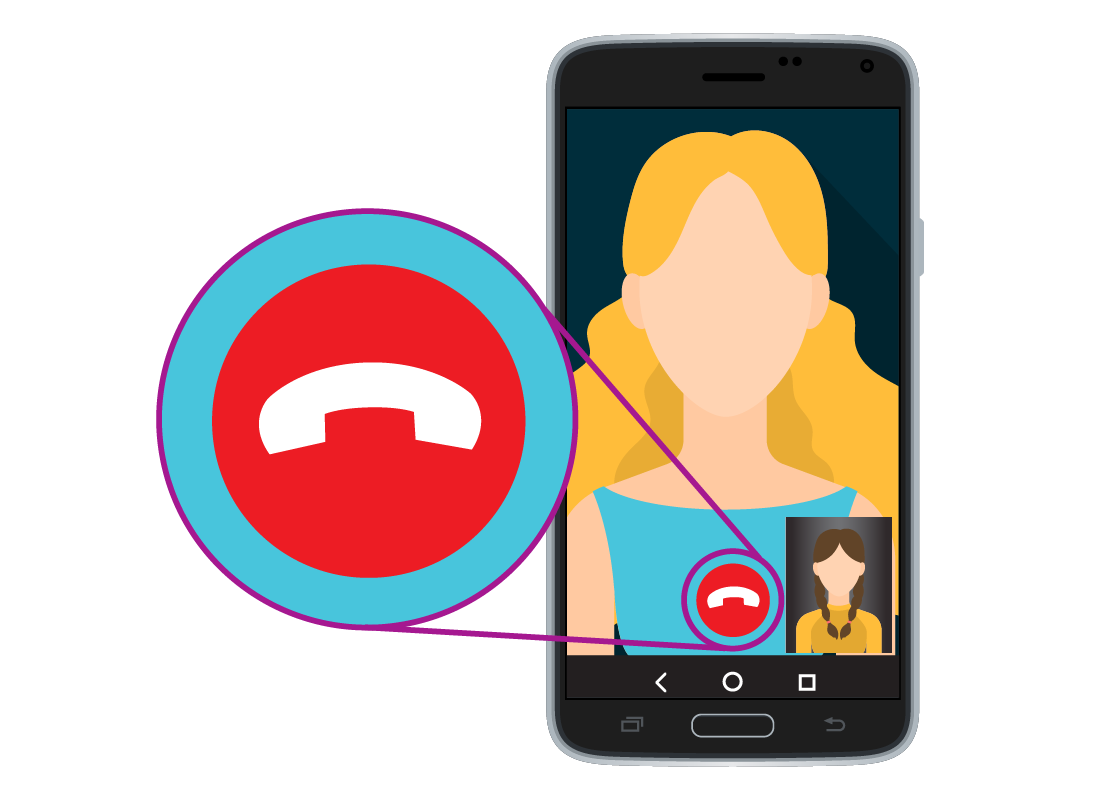 A sample WhatsApp call between two people on a smartphone highlighting the red hang up button at the bottom of the screen