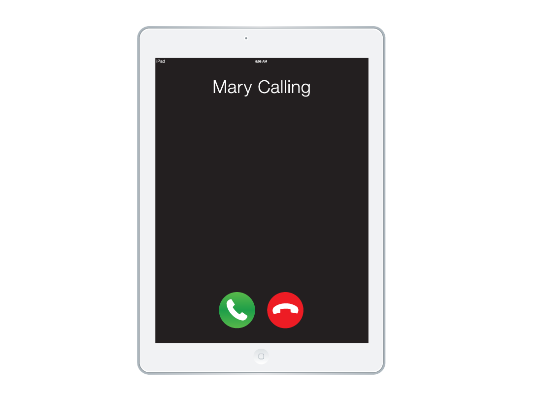A tablet screen suggesting that Mary is calling