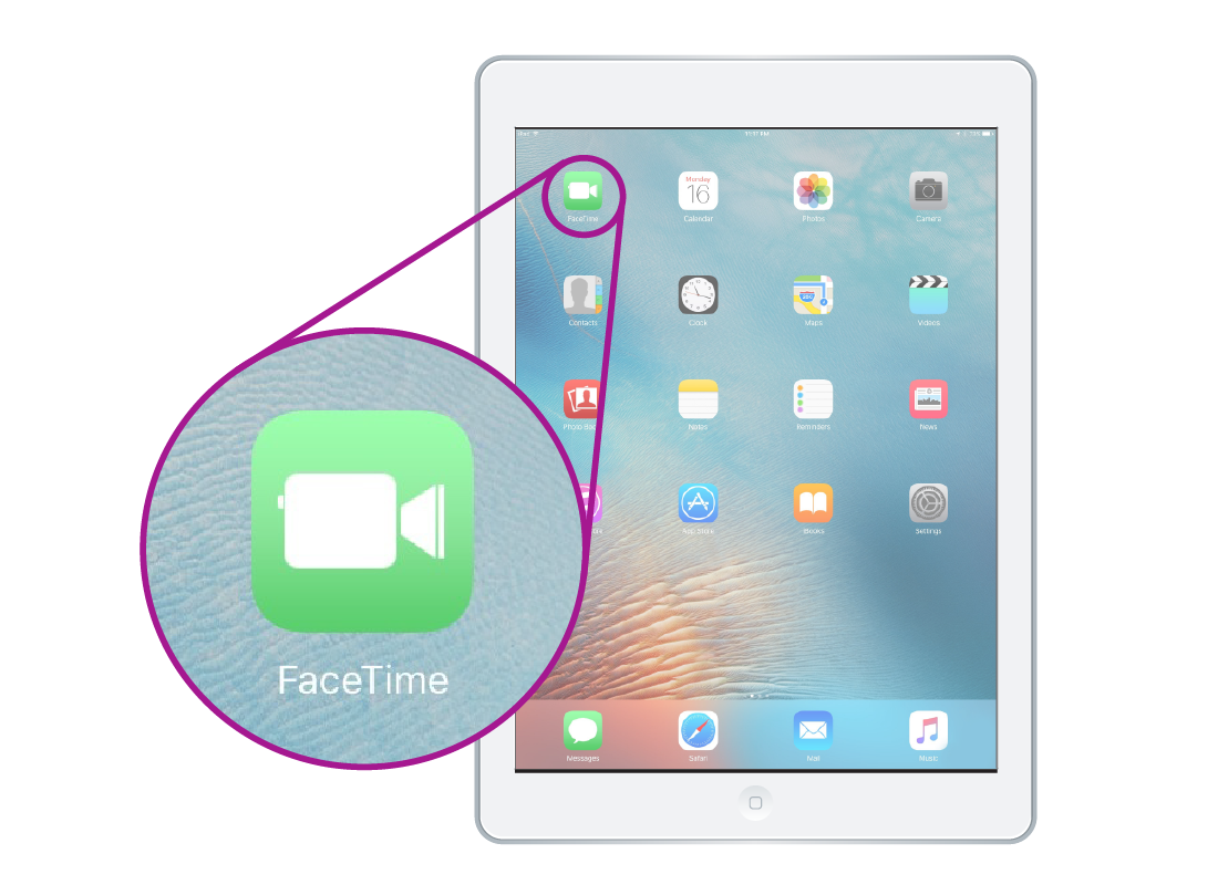 Shows a tablet with multiple apps on the home screen and the FaceTime app highlighted