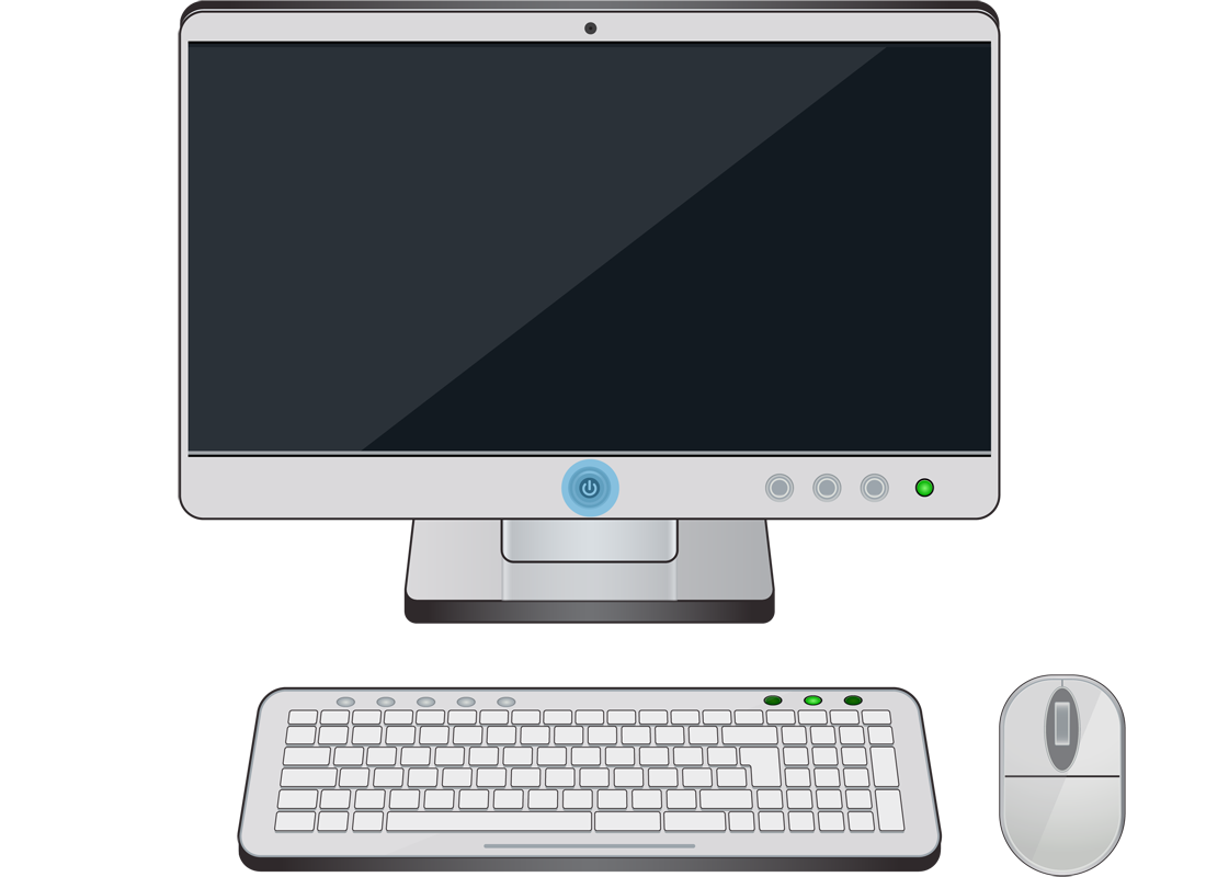 A desktop computer with a single power on button located in the screen and highlighted in blue