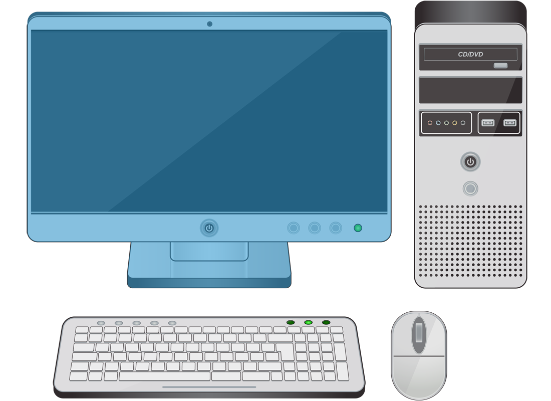 A desktop computer with the screen highlighted in blue
