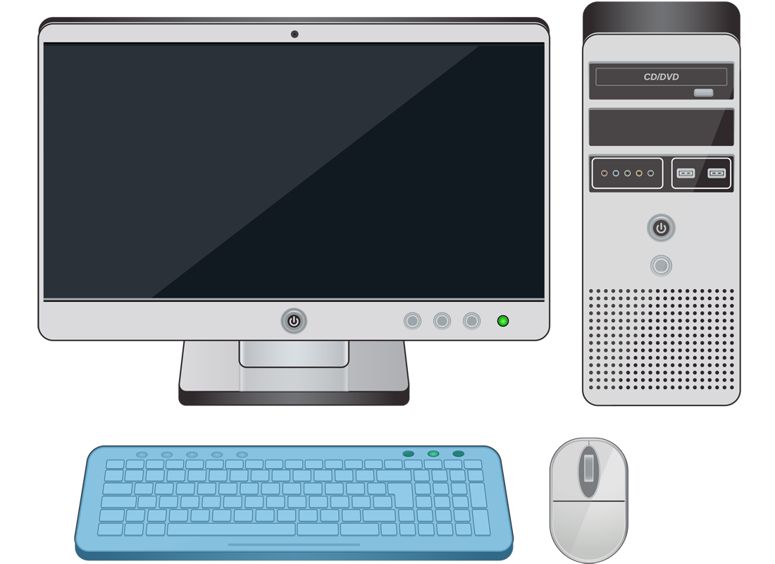 A desktop computer with the keyboard highlighted in blue