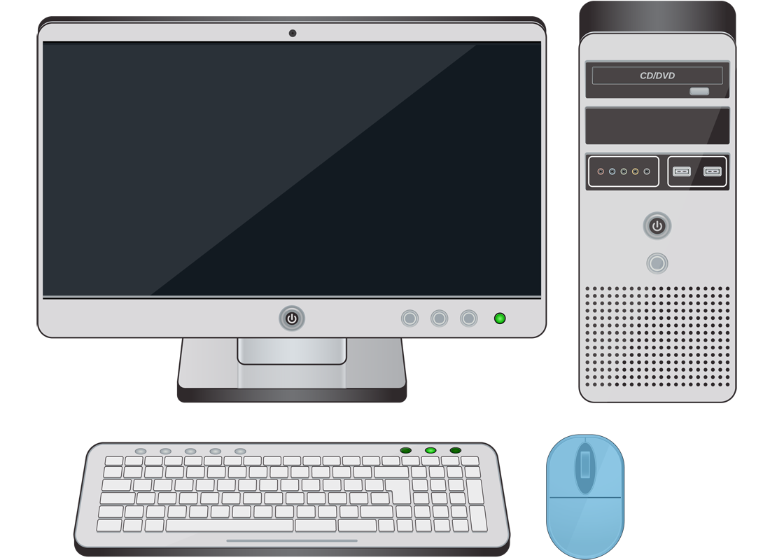 A desktop computer with the mouse highlighted in blue