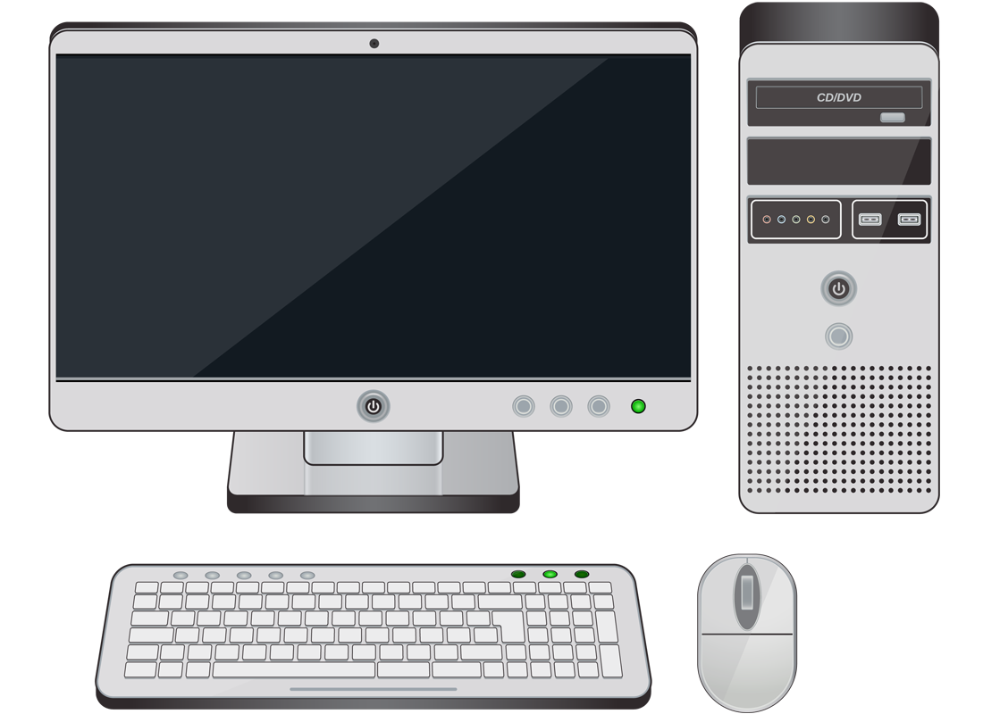 The parts of a desktop computer: the computer case, screen, keyboard and mouse