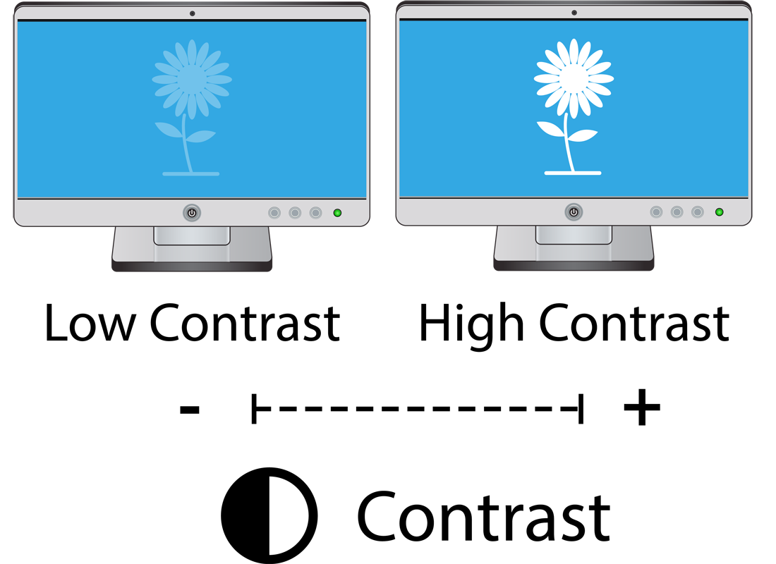 Two screens, one showing low contrast and the other showing high contrast settings