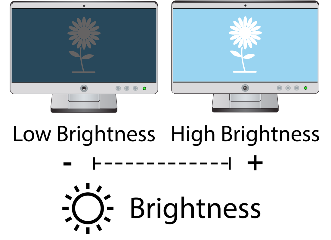 Two screens, one showing low brightness and the other showing high brightness settings