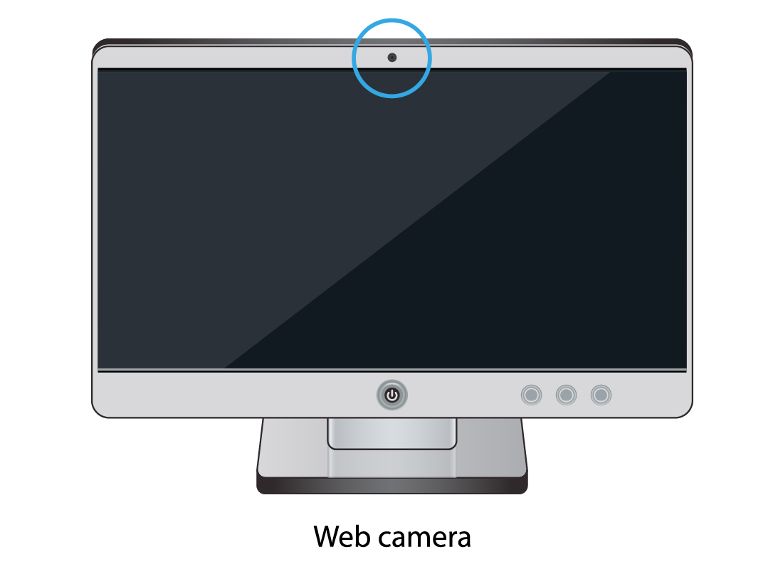 A typical computer screen with the location of the camera highlighted with a blue circle