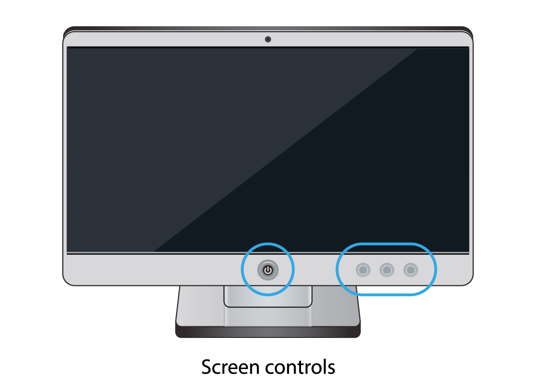 A typical computer screen with the controls highlighted by blue circles