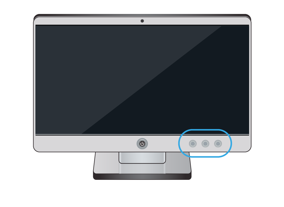 A desktop computer with the typical location of the volume control buttons highlighted with a blue circle