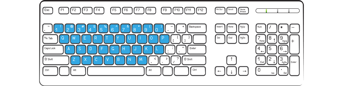 A typical keyboard with the letter and number keys highlighted in blue