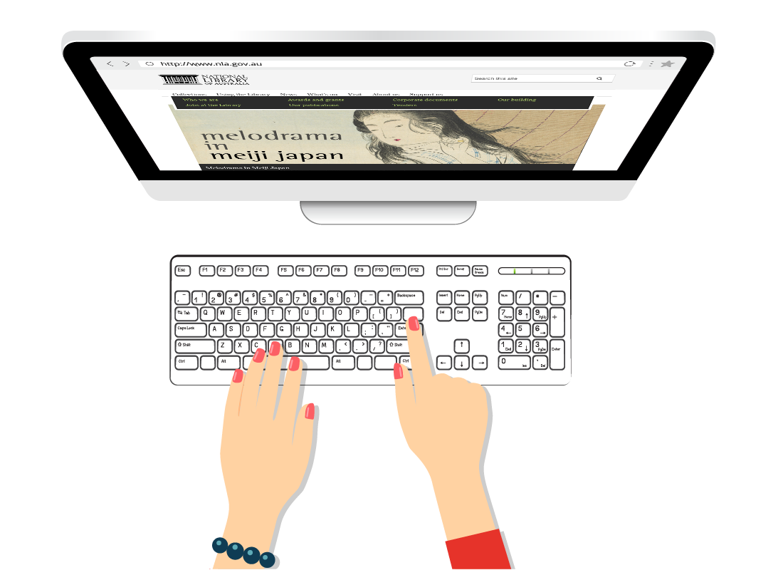 A graphic of hands typing on a keyboard with a computer screen showing a web page