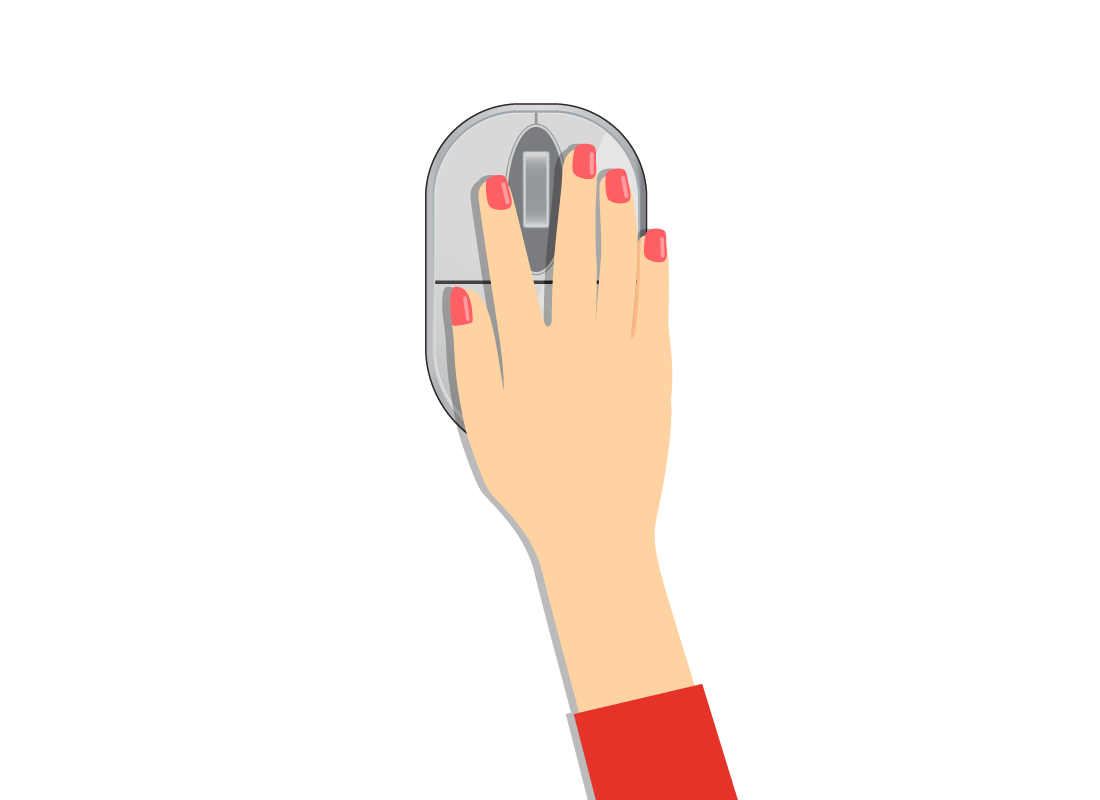A close up of a hand holding a computer mouse in a natural position