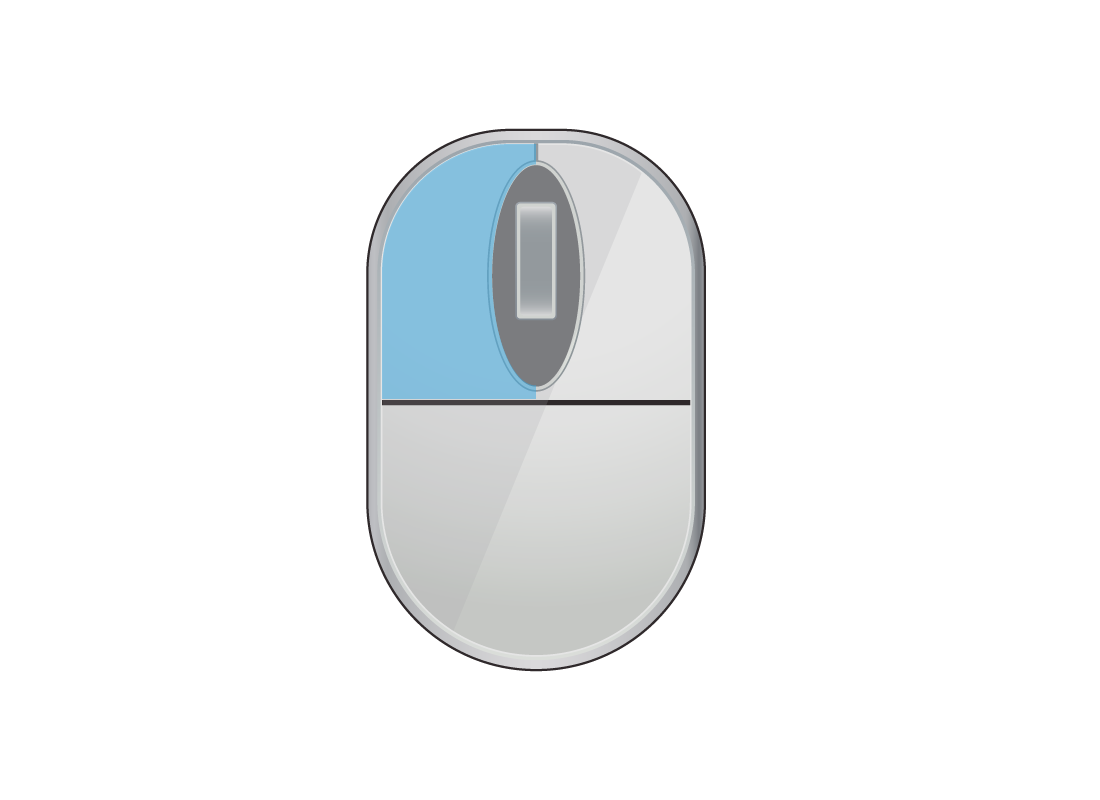 A computer mouse with the left mouse button highlighted in blue