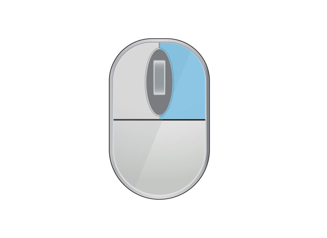 A computer mouse with the right mouse button highlighted in blue