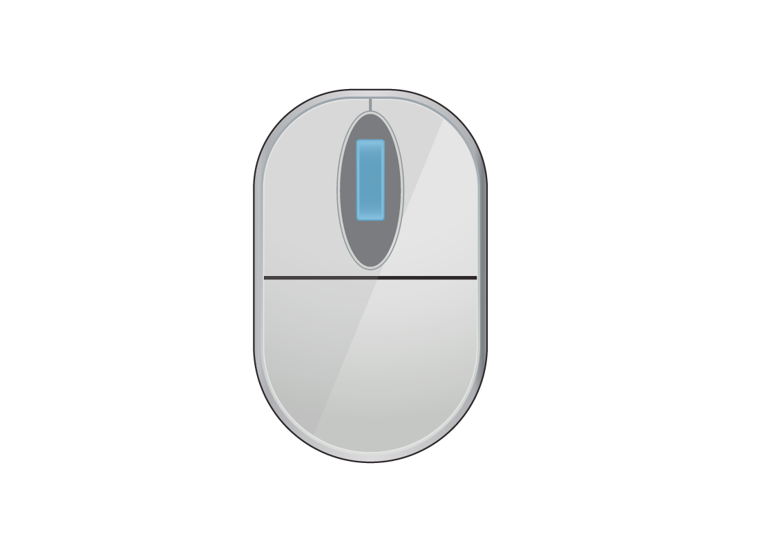 A computer mouse with a scroll wheel
