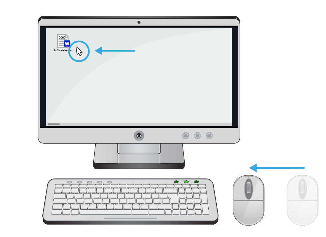 A diagram with a computer showing how the cursor moves in the same direction as the mouse