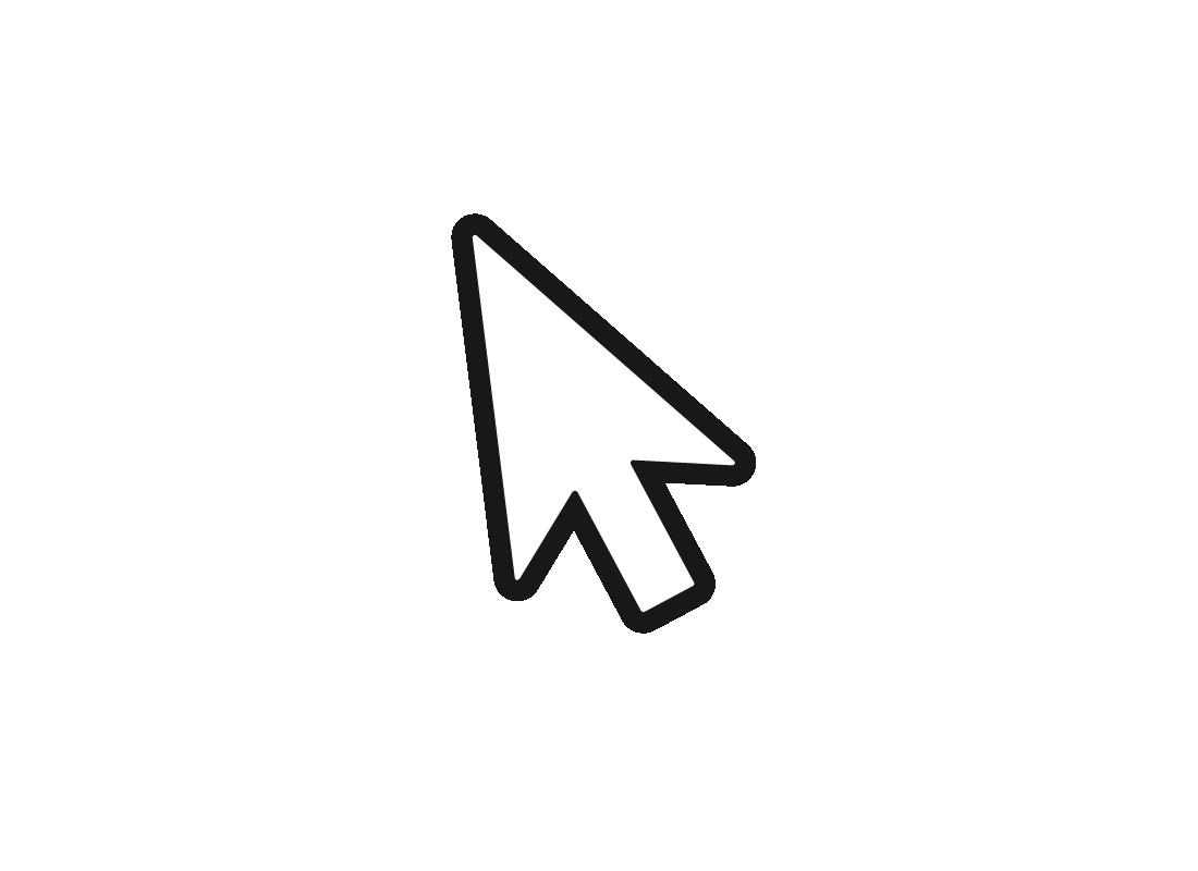 An enlargement of a cursor when it appears as an arrow