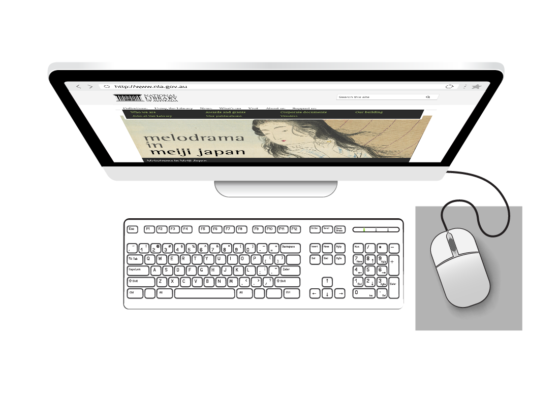 A view of a screen, keyboard and a cabled mouse